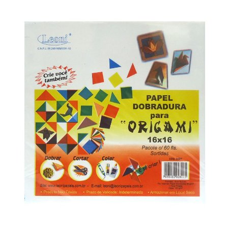 Papel Dobradura p/ Origami 16x16 c/ 60 Folhas Sortidas Leoni