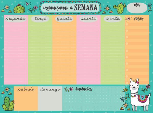 """Planner Semanal em Bloco """"Organizando a Semana Lhama"""""""