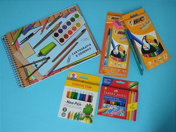 Kit escolar Bic Evolution - Neo Pen Canetinha Hidrográfica Compactor - Caderno de Cartografia e Desenho Foroni