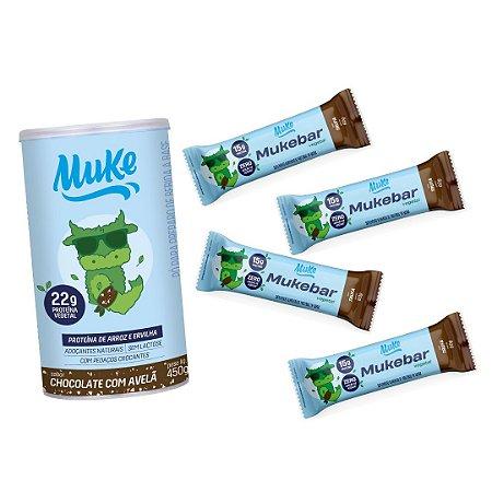 Mukebar Vegetal Muke - Trufa -  4 unidades + Proteína Vegetal Muke - Chocolate C/ Avelã
