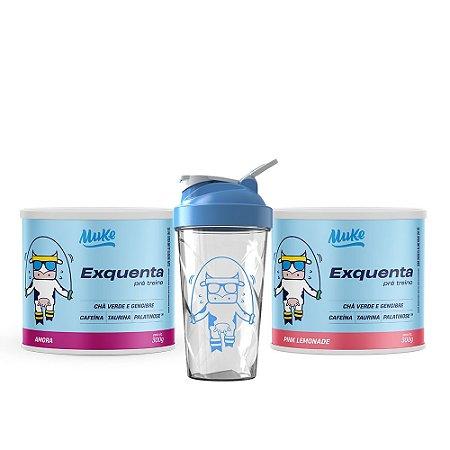 Exquenta Muke - Pré Treino - Sabor Amora - 300g + Exquenta Muke - Pré Treino - Pink Limonade - 300g + Ganhe Coqueteleira Personalizada