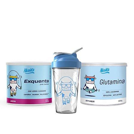 Exquenta Muke - Pré Treino - Sabor Amora - 300g + Glutamina Muke - Sem Sabor - 300g + Ganhe Coqueteleira Personalizada