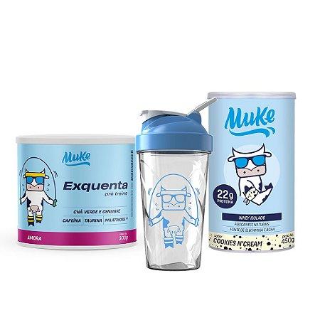 Exquenta Muke - Pré Treino - Sabor Amora - 300g + WHEY ISOLADO MUKE - COOKIES'N CREAM - POTE 450G + Ganhe Coqueteleira Personalizada