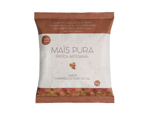 Pipoca Artesanal Mais Pura - Sabor Caramelo e Flor de Sal 75g