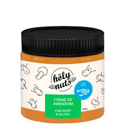 Creme de Amendoim Whey e Xylitol   Holy Nuts 450g