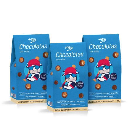 3 Caixinhas Chocolotas +Mu - Avelã - 60g