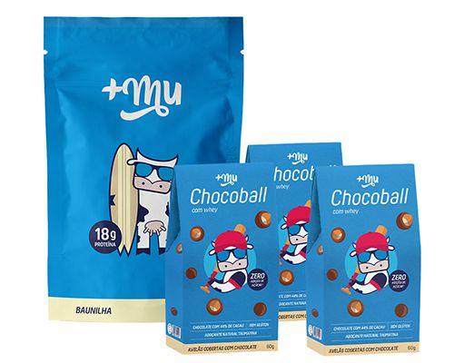 1 Refil Mais Mu Tradicional - Baunilha + 3 Chocoballs