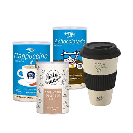Compre 1 Cappuccino Holy Nuts + 1 Cappuccino +Mu + 1 Achocolatado +Mu e ganhe 1 Copo personalizado Holy Nuts