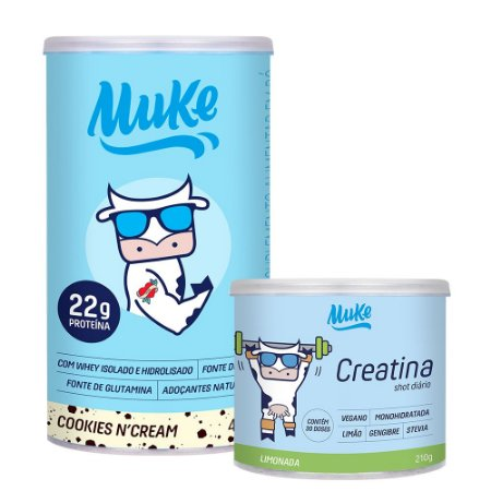 1 Pote de Cookies n' Cream Muke + 1 Pote Creatina de Limão e Gengibre Muke
