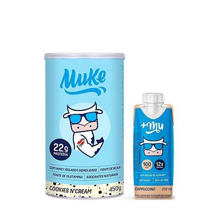 Compre 1 Pote de Whey Muke sabor Cookies n Cream e Ganhe o Lançamento +Mu Pronto sabor Cappuccino
