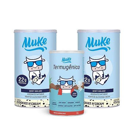 Compre 2 Potes Whey Muke - Sabor Cookies'n Cream (450g) + GANHE 1 Termugênico Muke (105g)