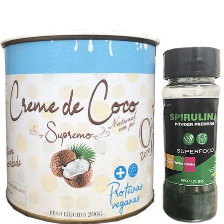 Kit - 01  Creme de Coco  Supremo + 01 Spirulina Premium