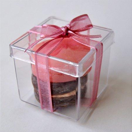 Sabonete Macaron Lembrancinha - caixa de acrílico - 10 unidades
