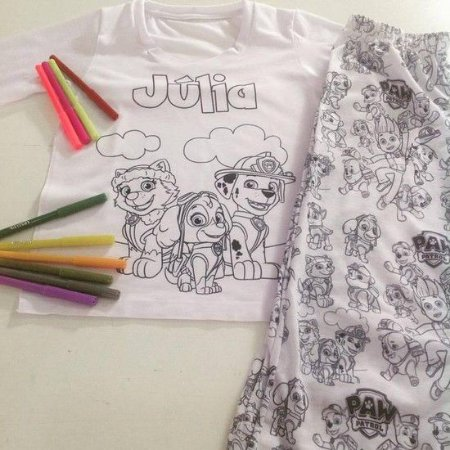 Pijama Curto de Colorir Personalizado Patrulha Canina Masculino
