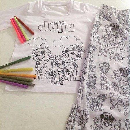 Pijama Longo de Colorir Personalizado Patrulha Canina Feminino