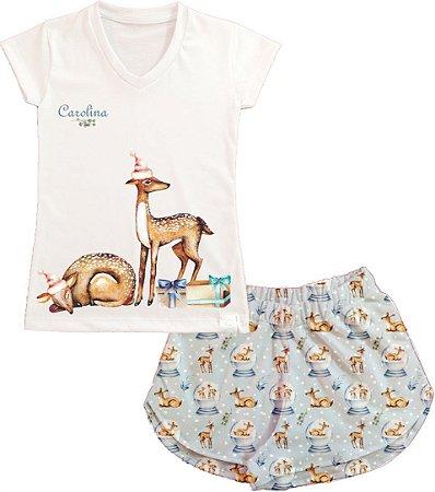 Pijama Natal Personalizado Cervo Feminino