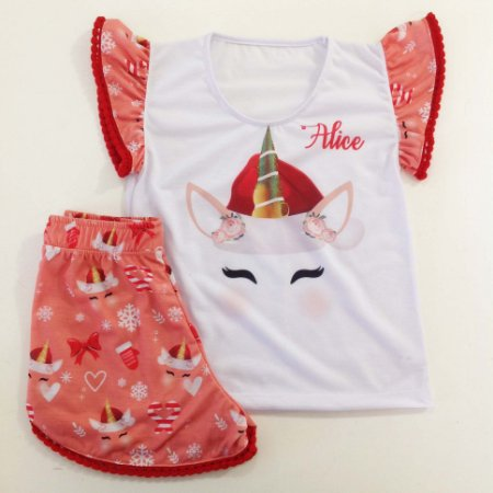 Pijama Natal Personalizado Unicórnio Feminino