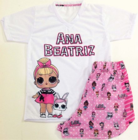 Pijama Curto Personalizado de Personagens Feminino