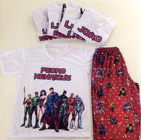 Pijama Personalizado Liga da Justiça
