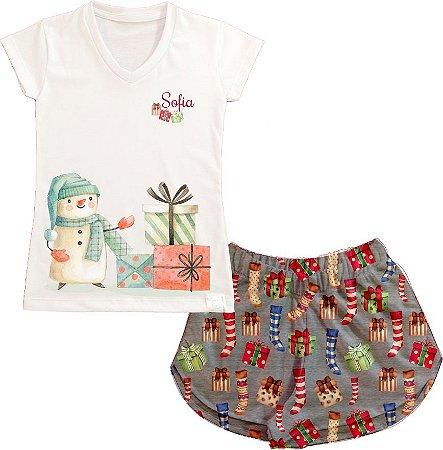Pijama Personalizado de Natal Boneco de Neve