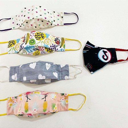 Kit Máscara 3D Infantil Feminino -5 UNIDADES