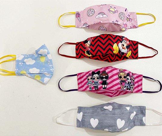 Kit Máscara 3D Infantil Feminino -3 UNIDADES