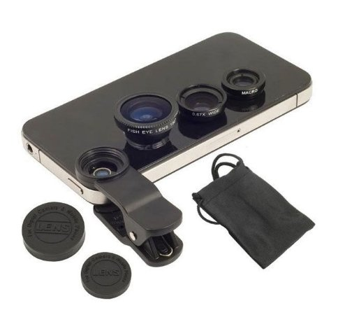 Kit 3x1 Lentes Olho Peixe Universal Eye Macro Wide