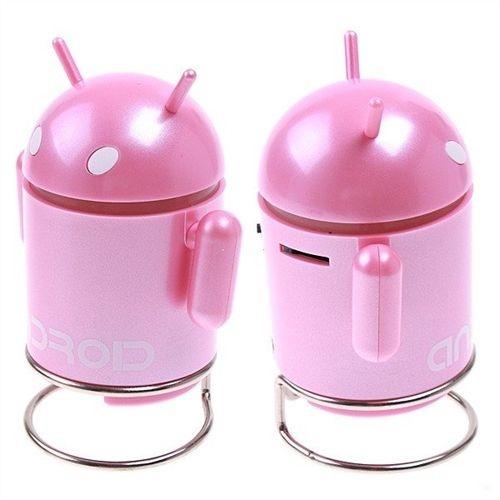Som MP3, USB, MicroSD Card e Rádio FM Robo ANDROID c/ bateria recarregável