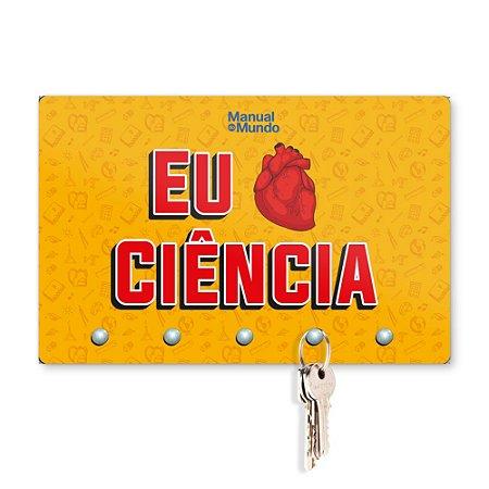 Porta Chaves 20x13cm MANUAL DO MUNDO - Eu Amo Ciência (Laranja)