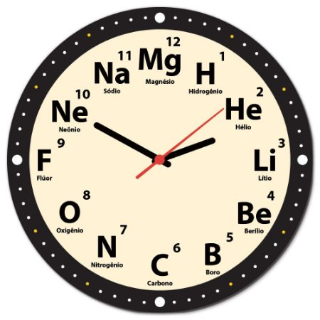Relógio de Parede 30x30cm MANUAL DO MUNDO - Elementos Redondo Branco