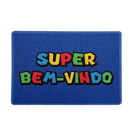 Capacho 60x40cm - SUPER BEM-VINDO (Azul)