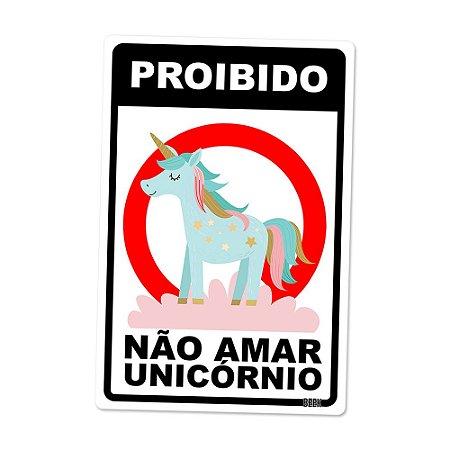 Placa Decorativa 24x16 Unicórnio Não Amar - Beek
