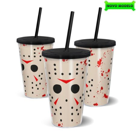 Copo Canudo Parede Dupla 500ml HALLOWEEN Assassino - Beek