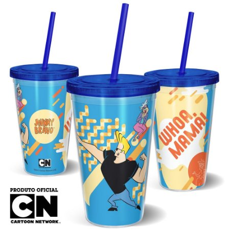 Copo Canudo 600ml Cartoon Network Jhonny Bravo - Whoa Mama