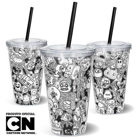 Copo Canudo 600ml Cartoon Network OFF Mix de Personagens 2