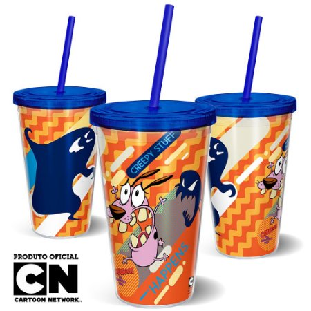 Copo Canudo 600ml Cartoon Network Coragem o Cão Covarde - Creepy Stuff