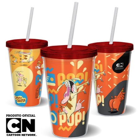 Copo Canudo 600ml Cartoon Network Vaca e o Frango - POP POP