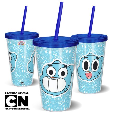 Copo Canudo 600ml Cartoon Network O incrível mundo de Gumball - Beek