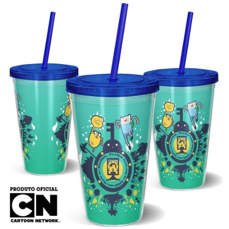 Copo Canudo 600ml Cartoon Network HORA DE AVENTURA - Beek