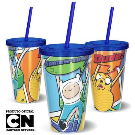 Copo Canudo 600ml Cartoon Network HORA DE AVENTURA Quadrinhos Finn e Jake - Beek