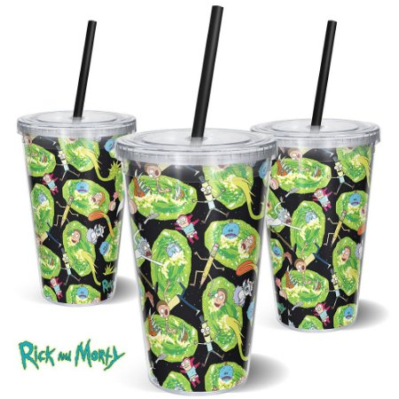 Copo Canudo 600ml Portais RICK AND MORTY Oficial - Beek