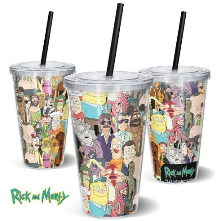 Copo Canudo 600ml Personagens 1 RICK AND MORTY Oficial - Beek