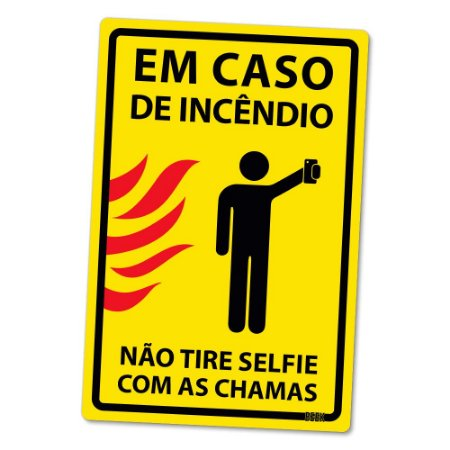 Placa Decorativa 24x16 Selfie com as chamas - Beek