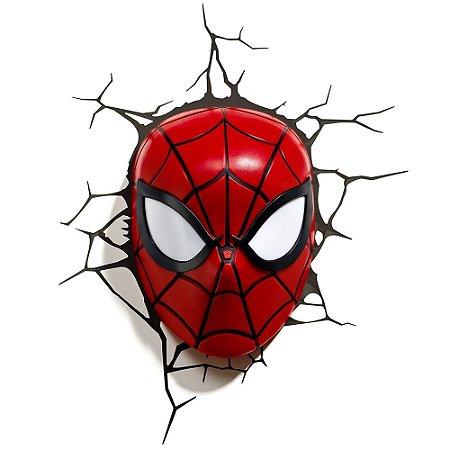 Luminária 3D Light FX Marvel Máscara Homem Aranha