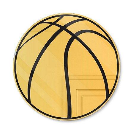 Espelho Decorativo feito em Acrílico Espelhado Dourado (30x30cm) - Bola de Basquete