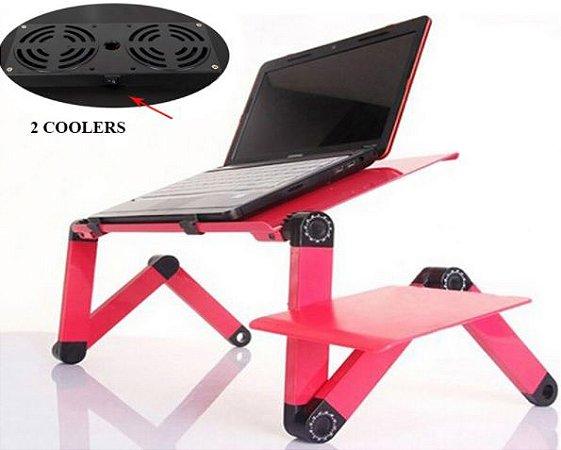 Mesa Suporte Articulado Para Notebook Com Mousepad e Cooler - Rosa