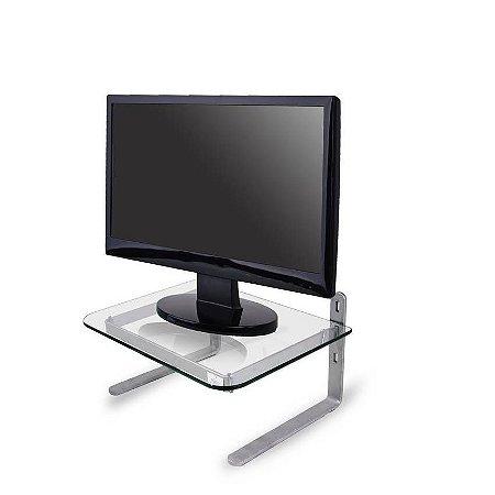 Suporte Monitor Office - Prata / Vidro Incolor