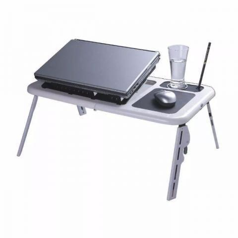 Mesa Para Notebook Com Cooler Duplo e Base para copo - Branca