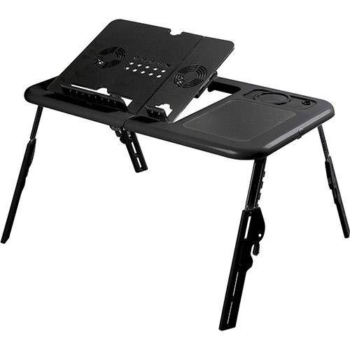 Mesa Para Notebook Com Cooler Duplo e Base para copo - Preta