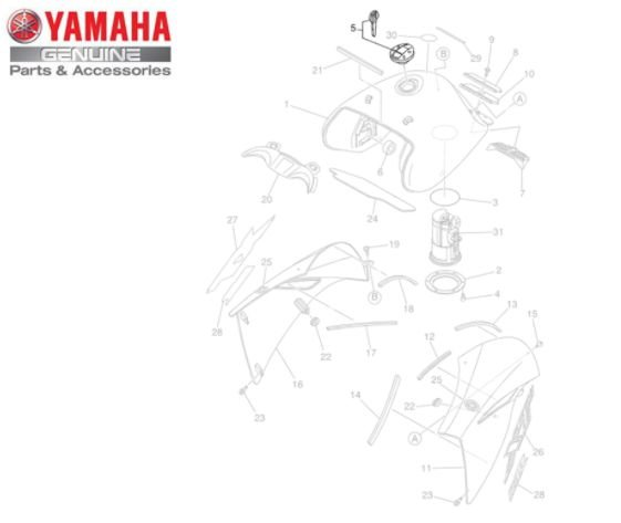 TAMPA DO TANQUE DE COMBUSTIVEL PARA XT660R ORIGINAL YAMAHA